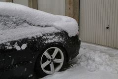 Car covered with snow after heavy snowfall.  stock image
