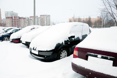 Car covered with snow. Moscow Russia Stock Photo