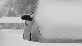 Car covered by snow. stock footage