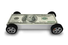 The car covered with us dollars - 3d rendering vector illustration
