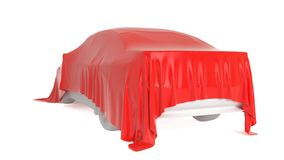 Car covered with a white cloth. 3D rendering Stock Images