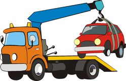 car with crane Stock Photography