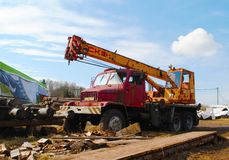 Car crane Praga V3S -Czech cult car royalty free stock photo