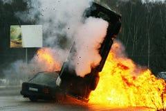 Car crash. The burning cars on iced highway. Car crash Stock Image