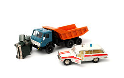 Car crash. Toy cars in accident on a white background Stock Photography