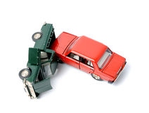 Car crash. Toy cars in accident on a white background Stock Photo