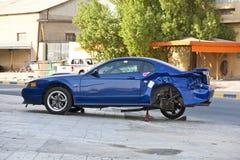Car crash. Scene of a crashed car Stock Image