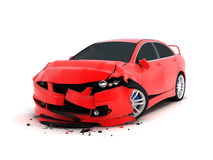 Car crash. On white background (done in 3d Stock Photography