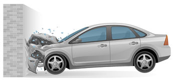 Car crash. Silver car crashes into a brick wall Stock Photography