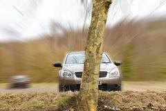 Car crash. Crashing into tree at speed stock photo