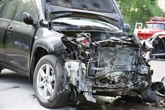 Car crash. Total car crash smash accident on an interstate road Royalty Free Stock Photography