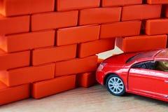 Car crash accident. Automobile hit a brick wall. A car insurance concept. Carr crash accident. Automobile hit a brick wall. Car insurance concept stock photos