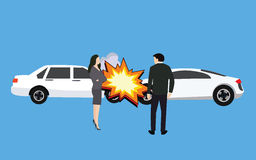 Car crash accident collision man woman standing Royalty Free Stock Photography