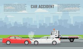 Car crash or accident concept illustration. Vector illustration for infographic template. stock illustration