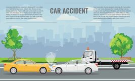 Car crash or accident concept illustration. Vector illustration for infographic template. royalty free illustration