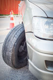 Car crash accident, impact to front wheel axle and bumper is bro Stock Photo
