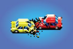 Car crash accident pixel art game style illustration. Car crash accident pixel art game style retro illustration stock illustration