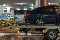 Car crash from car accident on the road. Bangkok, Thailand - June 21, 2017 : Car damaged crash from car accident on the road wait insurance in a city collision royalty free stock photos