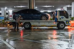 Car crash from car accident on the road. Bangkok, Thailand - June 21, 2017 : Car damaged crash from car accident on the road wait insurance in a city collision stock image