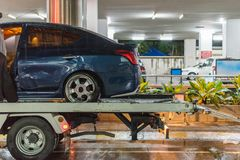Car crash from car accident on the road. Car damaged crash from car accident on the road wait insurance in a city collision in Bangkok Road, accidents are a stock photos