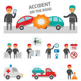 Car crash and accident on the road infographic elements. Stock Images