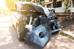 Car crash accident on street ,Broken car,damaged automobiles after collision.  royalty free stock image