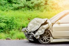 Car crash on road. Car crash accident on street, car accident from rain, damaged automobiles after collision in city from drunk ,binge drinking royalty free stock photography