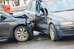 Car crash accident on street. With damaged automobiles after collision stock photo
