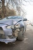 Car crash accident on street, damaged automobiles after collision in city stock photography