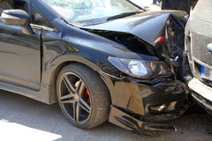 Car crash accident. On street, damaged cars Stock Photography