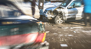 Car crash accident on street of Voronezh, damaged automobiles after collision stock photo