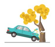 Car crash accident in tree flat vector illustration. Blue automobile driven into tall wood with yellow leaves colorful picture on white. Negligence of drivers Royalty Free Stock Photos