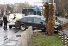 Car crash accident trolley bus Stock Image
