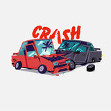 Car crash.  accident with two damaged autos. typographic design. Illustration Royalty Free Stock Images