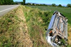 Car crash accident upside down vehicle Royalty Free Stock Photos