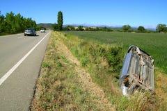 Car crash accident upside down vehicle Stock Image