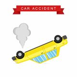 Car crash and accident on white background. Upside-down car. Vector Illustration Royalty Free Stock Image