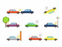 Car crash and accidents, flat icons. Vector Illustration Royalty Free Stock Photos