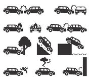 Car crash and accidents icon set. Cliff down move, fatal falling, emergency fire risk transportation. Vector illustration Royalty Free Stock Images