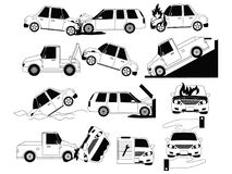 Car crash and accidents on the road icons Stock Photos