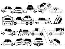 Car crash and accidents. On the road icons set outline concept. Flat vector design Stock Images