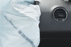 Car Crash air bag, blue,  inscription airbag Stock Photo