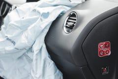 Car Crash air bag, blue,  inscription airbag Stock Images