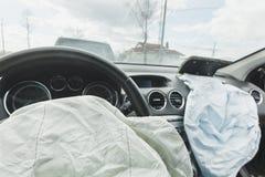 Car Crash air bag, blue,  inscription airbag Stock Photos