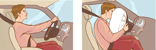Car crash and airbag deployment of Stock Images