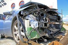 Car crash. Blue destroyed car after car crash Royalty Free Stock Photos