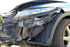 Car crash. Blue destroyed car after car crash Stock Photo