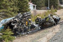 Car crash burned. After collision royalty free stock images