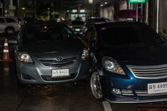 Car crash from car accident on the road. Bangkok, Thailand - June 21, 2017 : Car damaged crash from car accident on the road wait insurance in a city collision stock photography