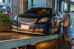 Car crash from car accident on the road. Car damaged crash from car accident on the road wait insurance in a city collision in Bangkok Road, accidents are a royalty free stock image